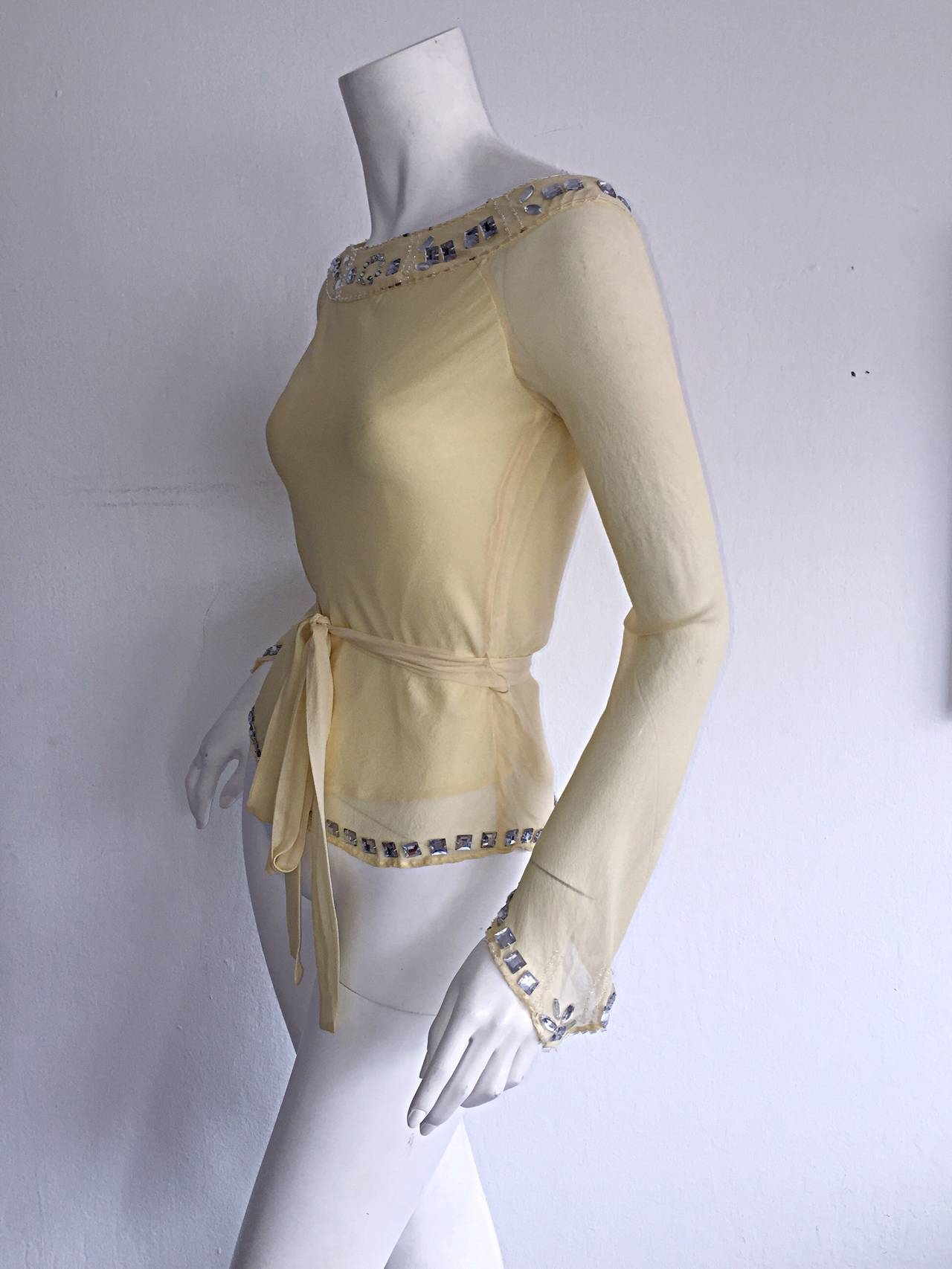 1990s Vintage Chloe by Karl Lagerfeld Yellow Chiffon Angel Blouse w/ Rhinestones In Excellent Condition For Sale In Chicago, IL