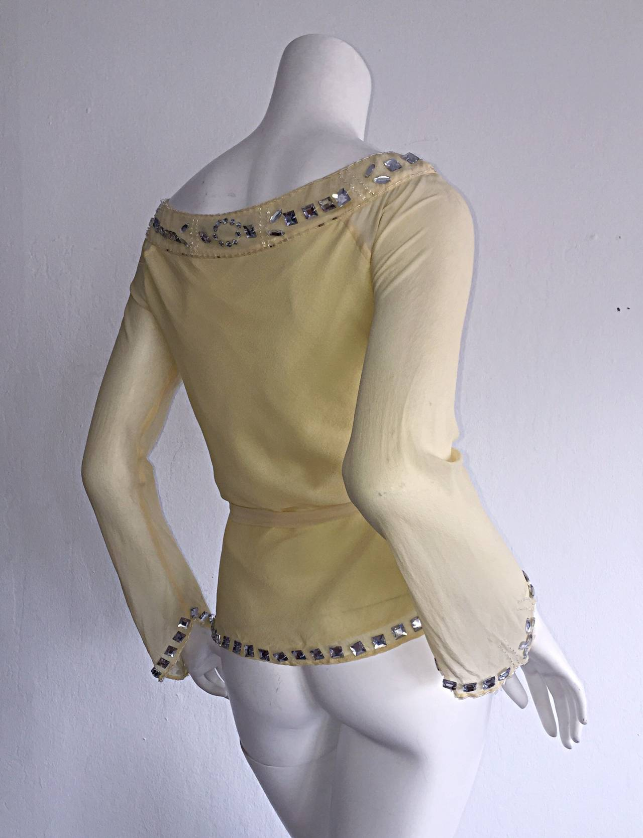 Women's 1990s Vintage Chloe by Karl Lagerfeld Yellow Chiffon Angel Blouse w/ Rhinestones For Sale