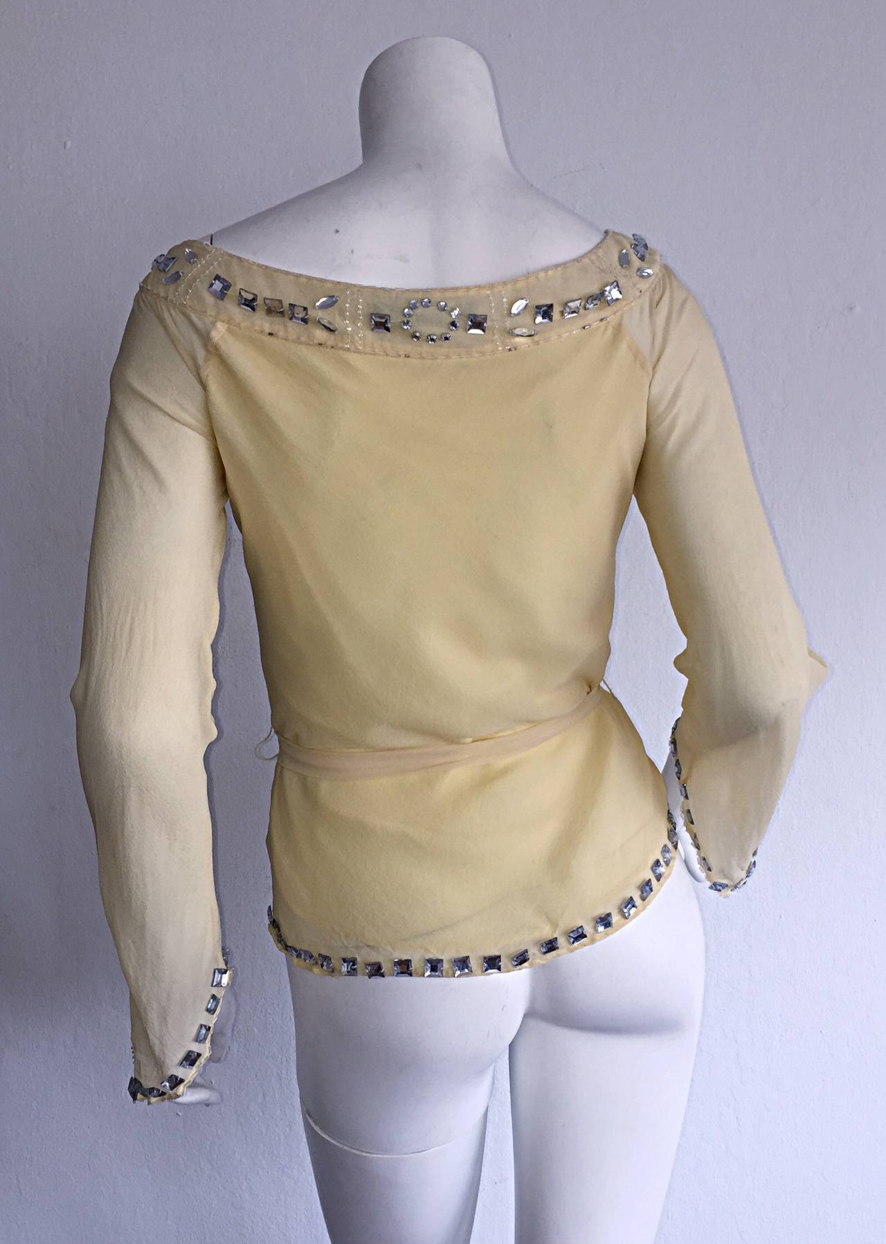1990s Vintage Chloe by Karl Lagerfeld Yellow Chiffon Angel Blouse w/ Rhinestones For Sale 2