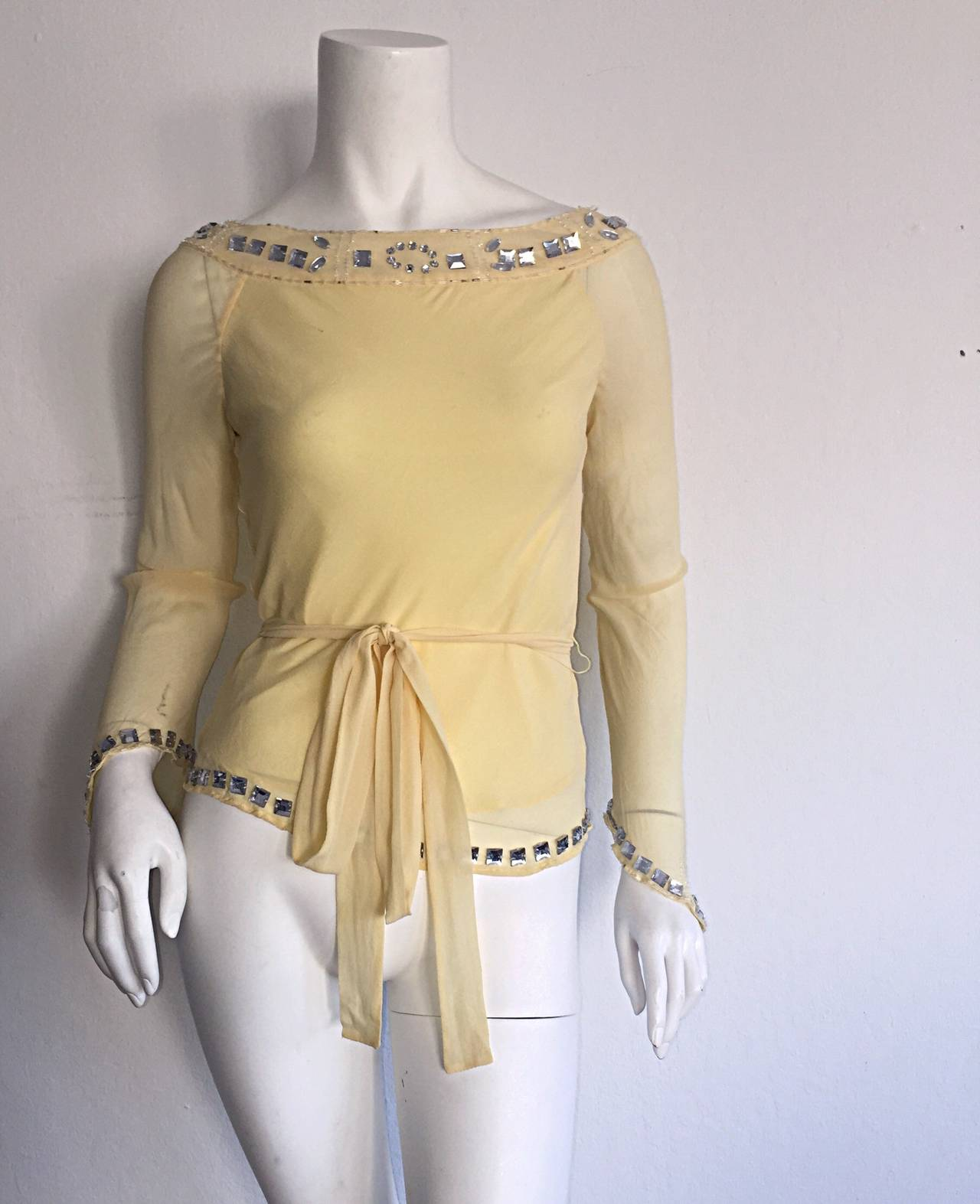 1990s Vintage Chloe by Karl Lagerfeld Yellow Chiffon Angel Blouse w/ Rhinestones For Sale 3