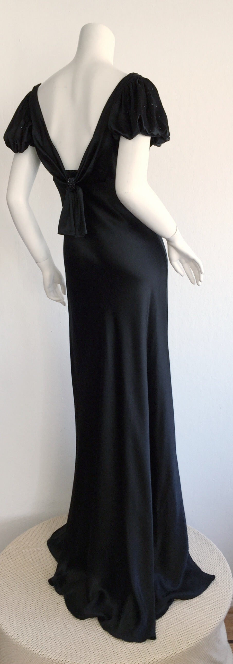 Stunning Jenny Packham 90s Vintage Black Silk Romantic ' Fluid ' Gown w/ Jewels In Excellent Condition For Sale In San Francisco, CA