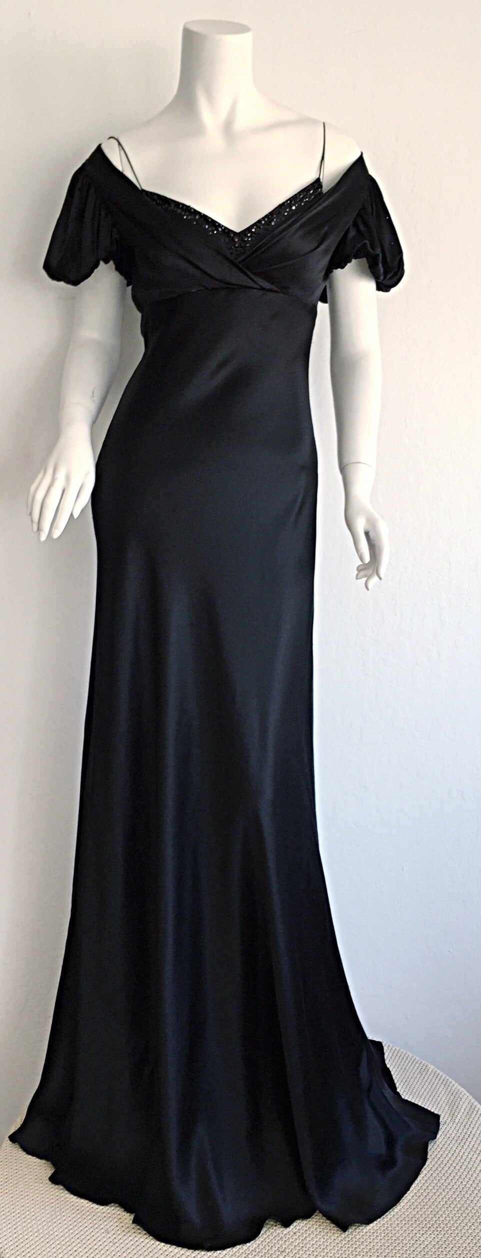Stunning Jenny Packham 90s Vintage Black Silk Romantic ' Fluid ' Gown w/ Jewels For Sale 5