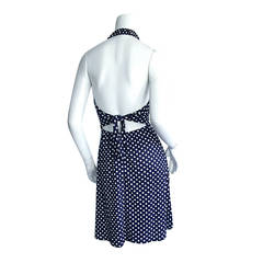 Vintage Joy Stevens Navy Blue + White Polka Dot Nautical Tie - Back Dress