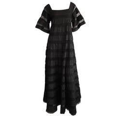 1970s Vintage Tachi Castillo Black Crochet Cotton Mexican Empire Maxi Dress