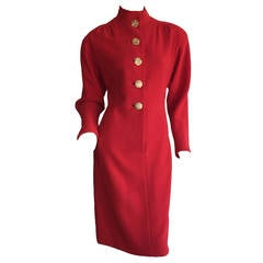 Beautiful Vintage James Galanos Lipstick Red Dress, w/ Gold Buttons