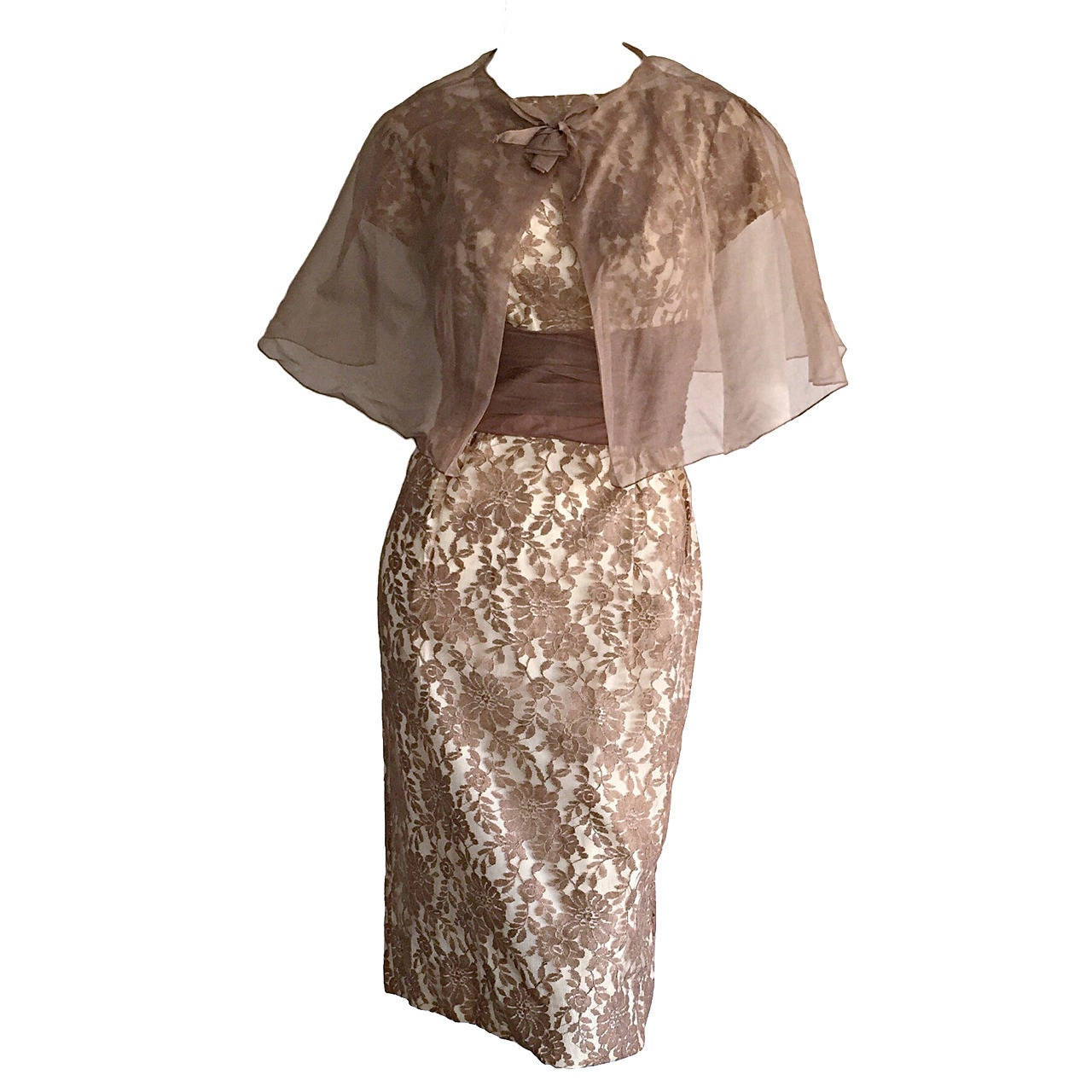 Incredible 1950s French Lace Bombshell Chantilly Lace Wiggle Dress + Cape