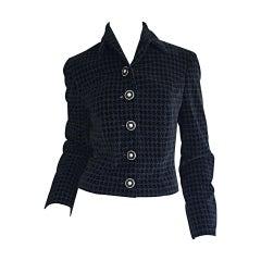 1990s Vintage Gianni Versace Pre - Death Black Velvet Houndstooth Jacket