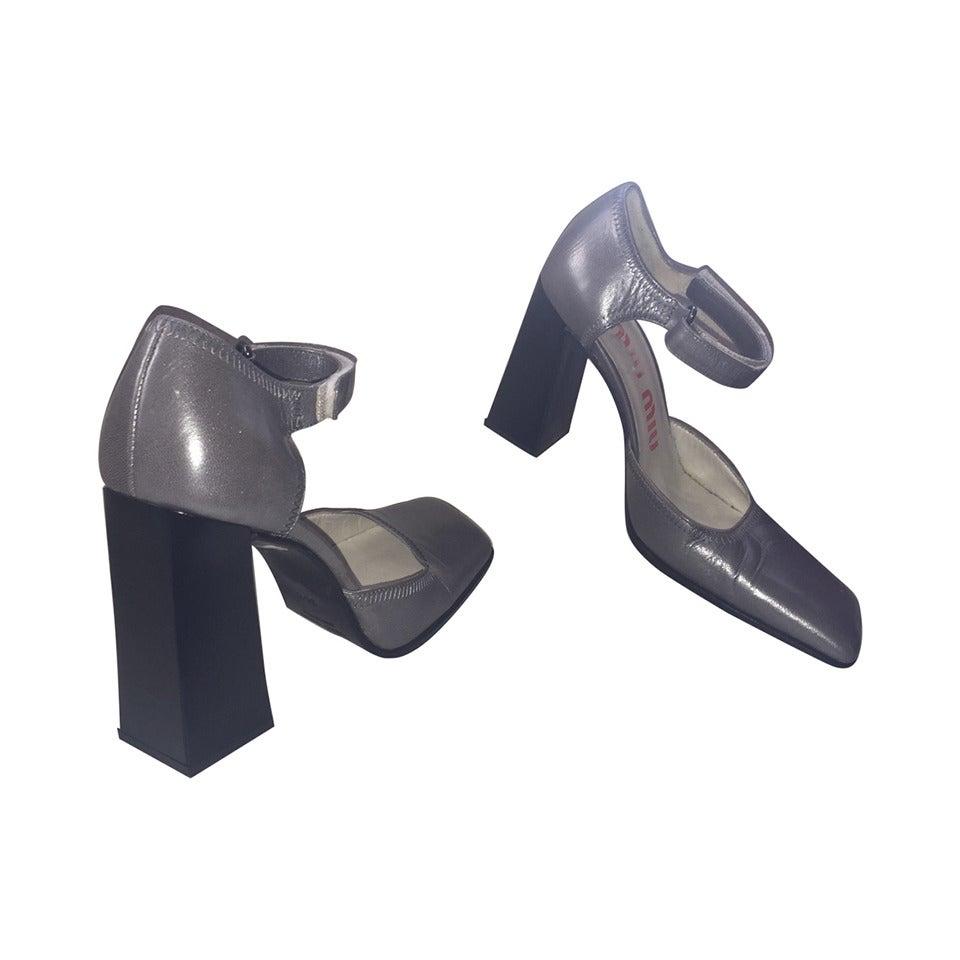Rare 1990s Vintage Miu Miu ' Architectural ' Gunmetal Block Heels / Shoes 36.5 1
