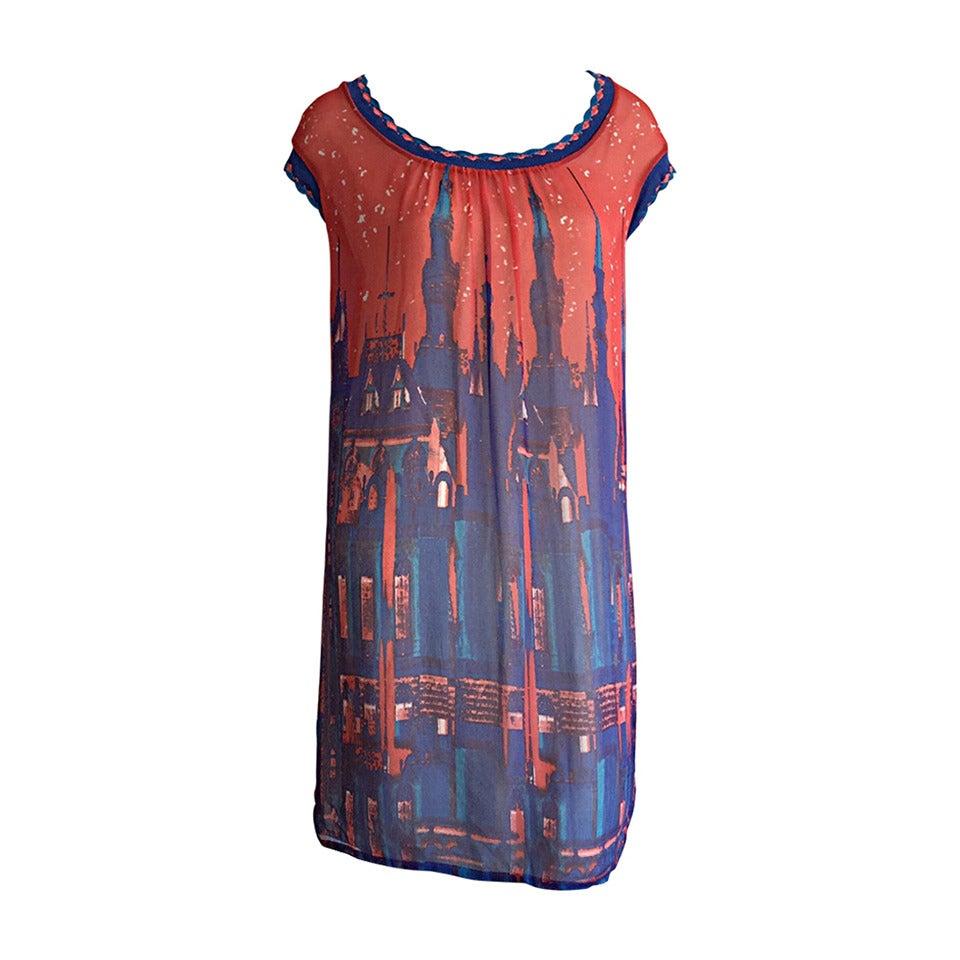"Cacharel "" Gotham City "" Colorful Skyline Silk + Crochet Dress"