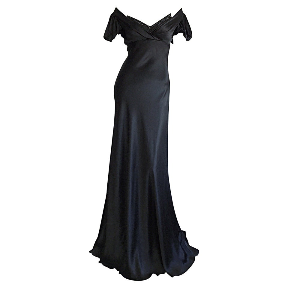 Stunning Jenny Packham 90s Vintage Black Silk Romantic ' Fluid ' Gown w/ Jewels
