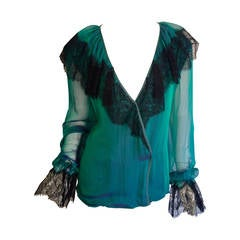 Beautiful Vintage Liancarlo / Neiman Marcus Silk Victorian Poet's Blouse + Lace