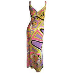 Amazing 1970s Vintage Leonora Psychedelic Colorful Wrap Maxi Dress