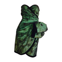 Incredible Vintage Victor Costa Bergdorf Goodman Green + Black Bow Dress