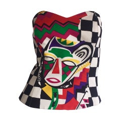 Amazing Vintage Escada by Laurel African Checkered Print Corset Top