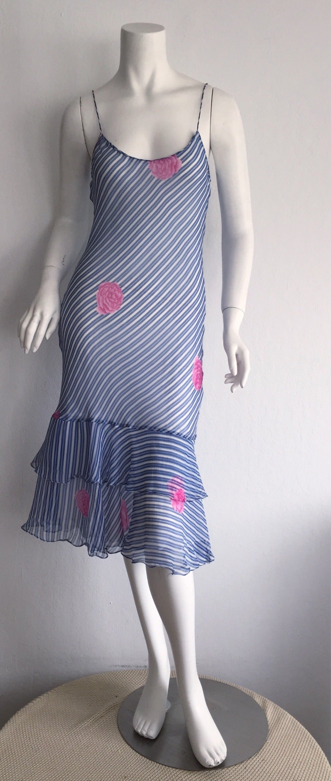 Wonderful Vintage Judy Hornby Couture Blue White Stripe Silk Dress