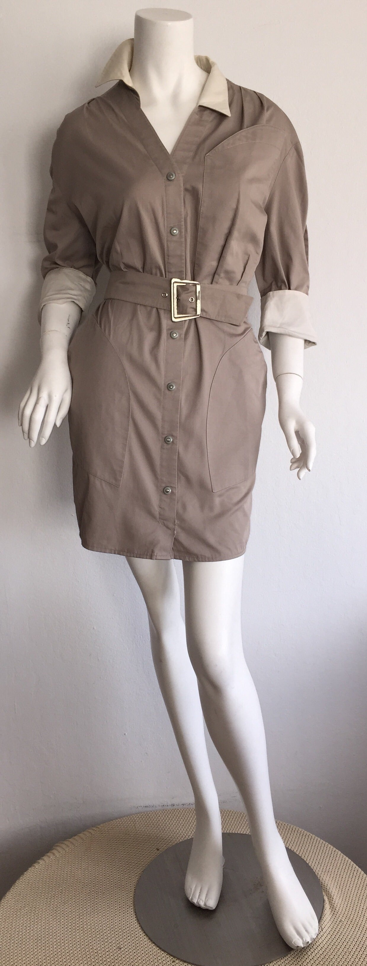 Sexy Vintage Thierry Mugler Avant Garde Belted Khaki Safari Shirt Dress 2