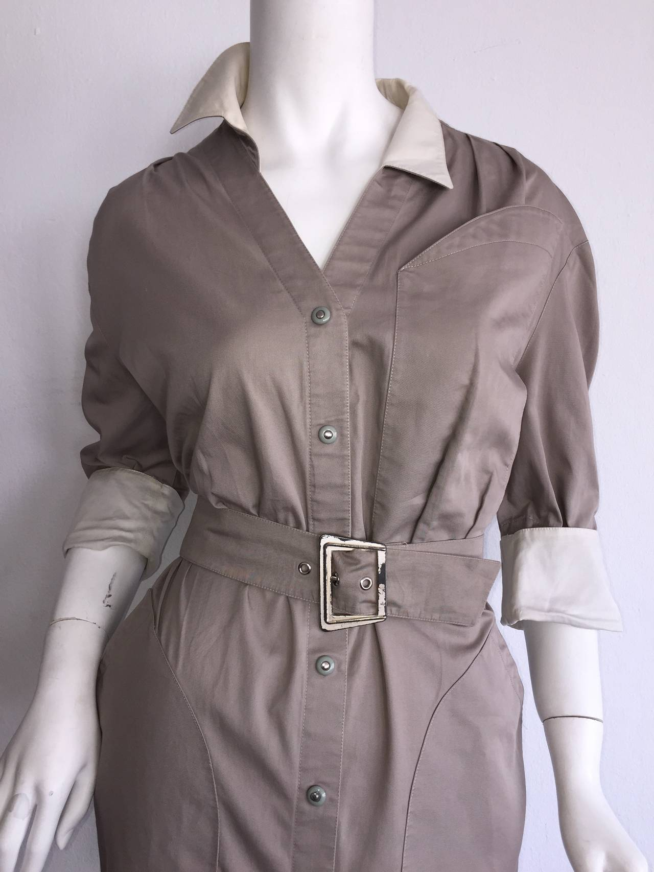 Sexy Vintage Thierry Mugler Avant Garde Belted Khaki Safari Shirt Dress 3