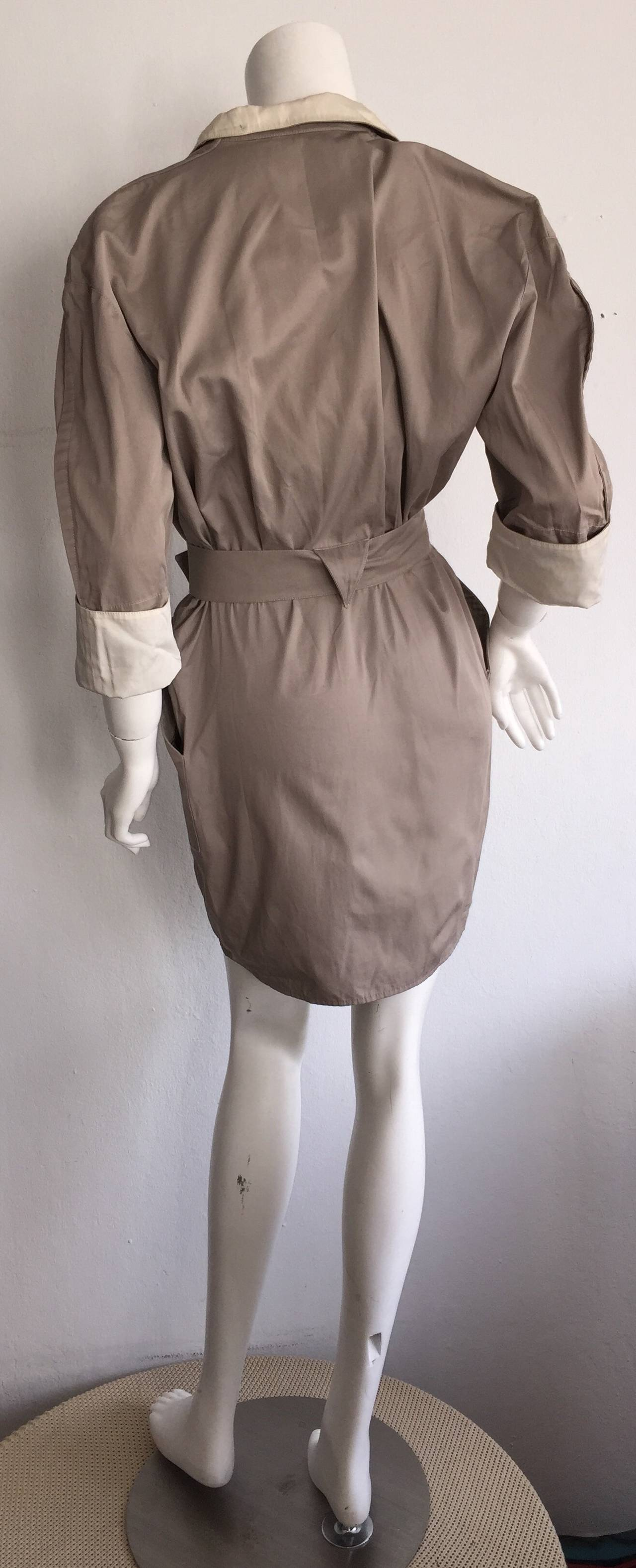 Sexy Vintage Thierry Mugler Avant Garde Belted Khaki Safari Shirt Dress 4
