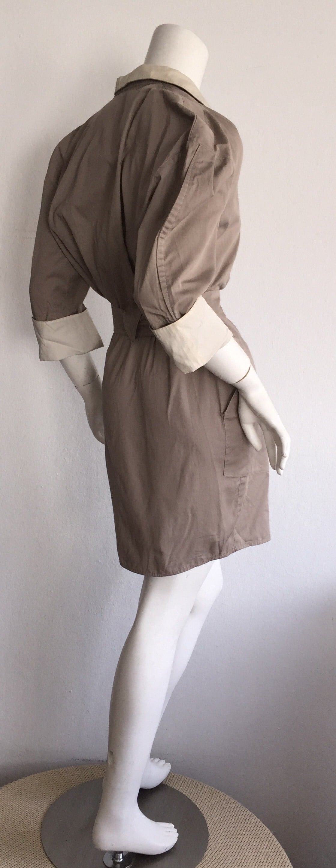 Sexy Vintage Thierry Mugler Avant Garde Belted Khaki Safari Shirt Dress 5