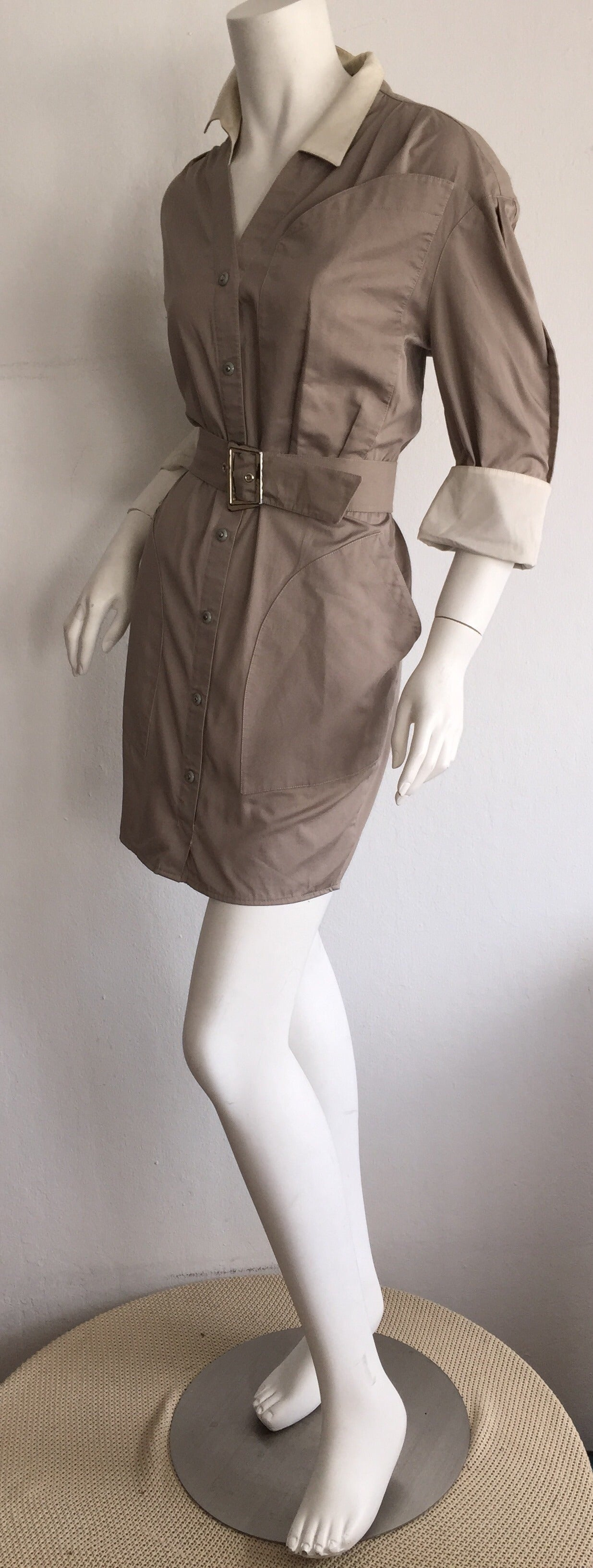 Sexy Vintage Thierry Mugler Avant Garde Belted Khaki Safari Shirt Dress 6
