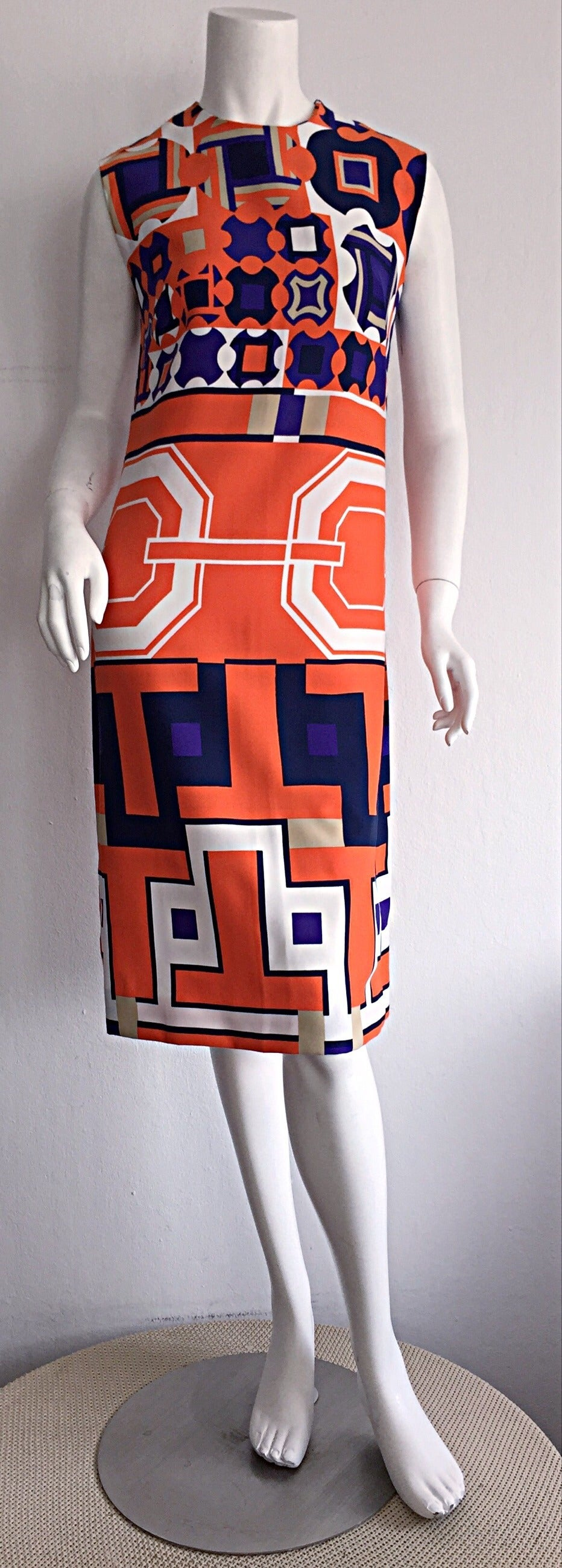 Absolutely stunning 1960s Lanvin dress! Ultra rare print, that Lanvin was so famous for creating! Chic hidden logo print on skirt of dress. Beautiful colors, with impressive 3-D effect. Easily goes from day to night, with sandals, wedges, boots, or