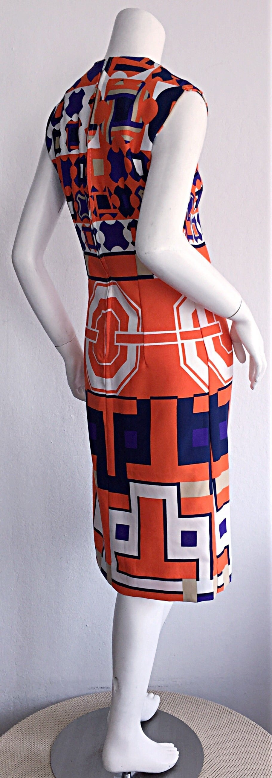 1960s Vintage Lanvin Op - Art Geometric Mod ' Buckle ' Print Shift 3 - D Dress 3
