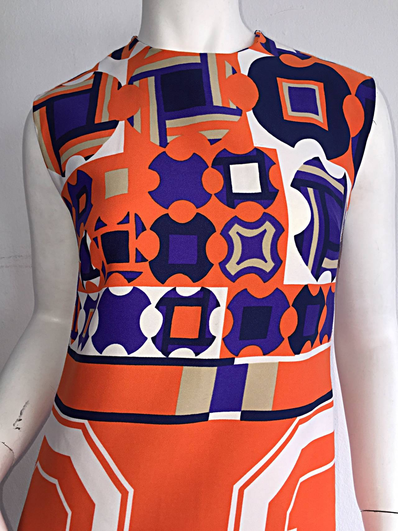 1960s Vintage Lanvin Op - Art Geometric Mod ' Buckle ' Print Shift 3 - D Dress In Excellent Condition For Sale In San Francisco, CA