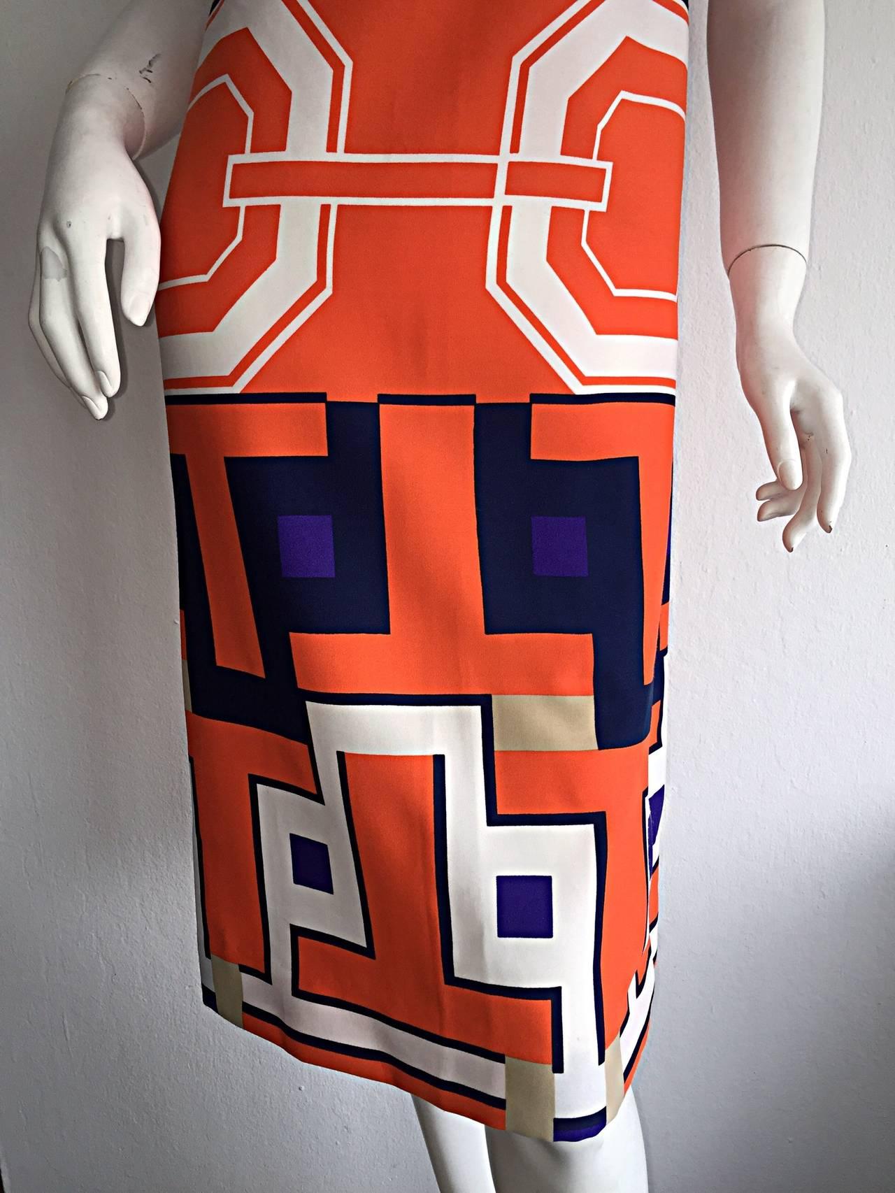 1960s Vintage Lanvin Op - Art Geometric Mod ' Buckle ' Print Shift 3 - D Dress 5