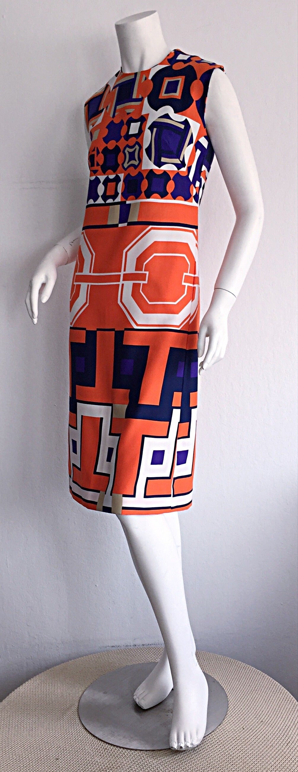 1960s Vintage Lanvin Op - Art Geometric Mod ' Buckle ' Print Shift 3 - D Dress 6