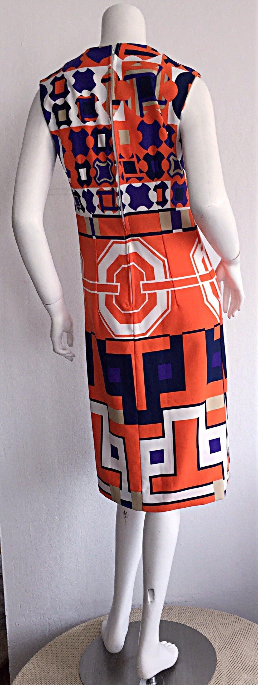 1960s Vintage Lanvin Op - Art Geometric Mod ' Buckle ' Print Shift 3 - D Dress 7
