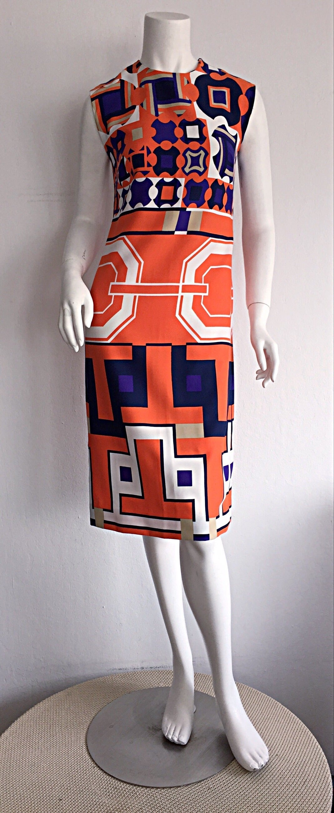 1960s Vintage Lanvin Op - Art Geometric Mod ' Buckle ' Print Shift 3 - D Dress 8