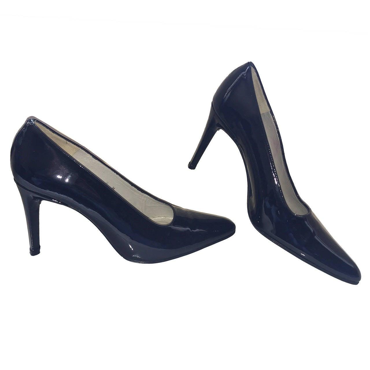 Vintage Carlos Falchi Classic Black Patent Leather Pumps / Heels ...