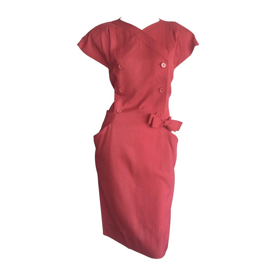 Vintage Nina Ricci Raspberry Pink Double Breasted Dress w/ Pockets + Bow Belt 1