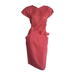 Vintage Nina Ricci Raspberry Pink Double Breasted Dress w/ Pockets + Bow Belt