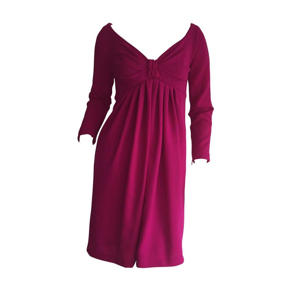 Vintage Carolyne Roehm Neiman Marcus Fuchsia Pink Babydoll Cocktail Dress