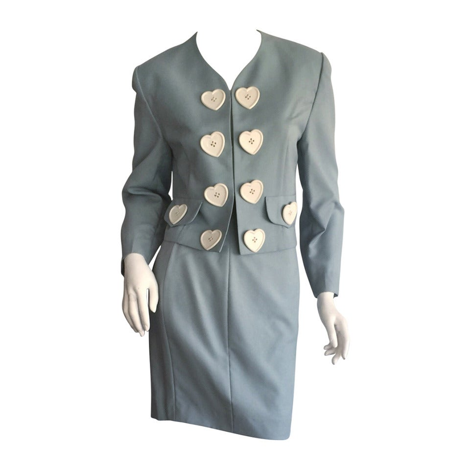 Incredible Vintage Moschino Cheap & Chic Light Blue Iconic ' Hearts ' Skirt Suit