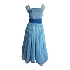 1950s Fred Perlberg Beautiful Blue Dress + Incredible Full Skirt w/ Origami Back