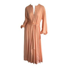 Stunning Vintage Donald Brooks 1970s Coral Jersey Disco 70s Pink Wrap Dress