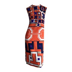 1960s Vintage Lanvin Op - Art Geometric Mod ' Buckle ' Print Shift 3 - D Dress