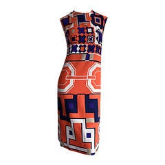 1960s Vintage Lanvin Op - Art Geometric Mod ' Buckle ' Print Shift 3 - D Dress