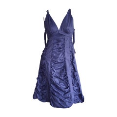 Runway Marc Jacobs Sz 2 / 4 Periwinkle Blue Ruched A-Line Babydoll Cotton Dress