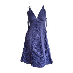 Runway Marc Jacobs Periwinkle Blue Ruched A-Line Babydoll Cotton Dress