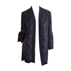 Vintage Janice Wainwright Fan Print Silk Kimono Smoking Jacket Blouse