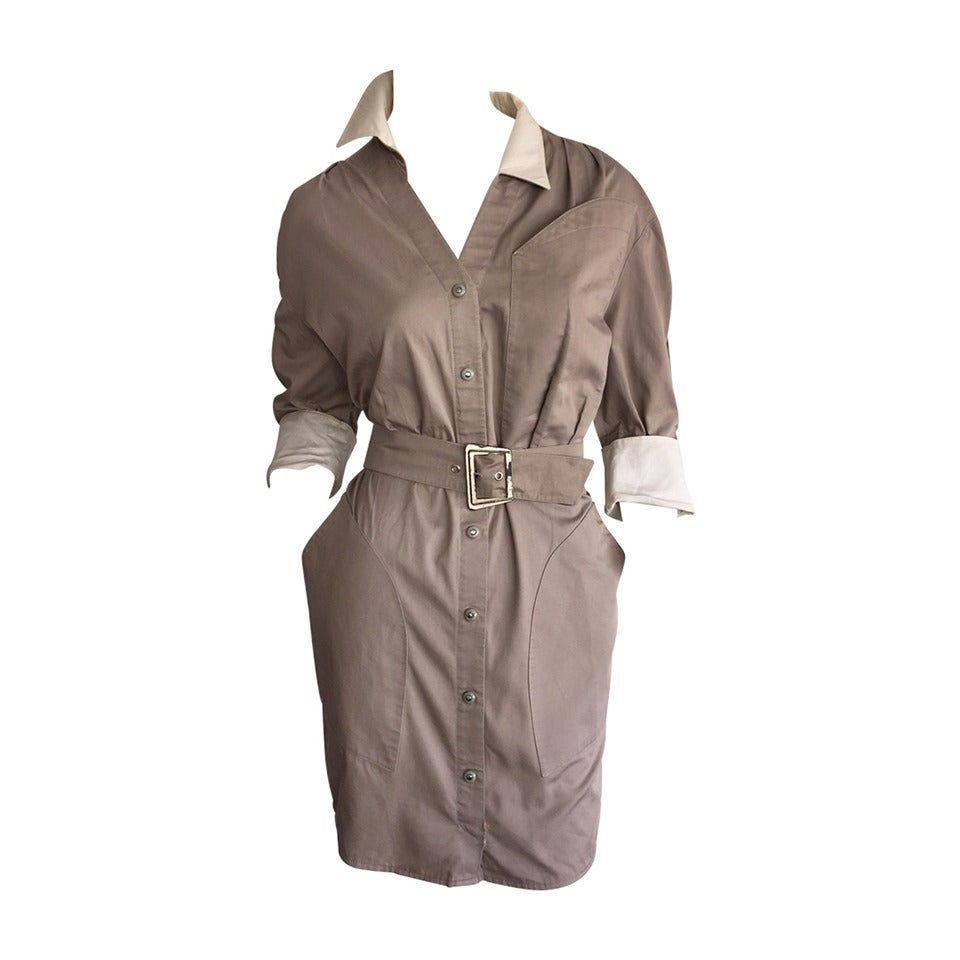 Sexy Vintage Thierry Mugler Avant Garde Belted Khaki Safari Shirt Dress 1