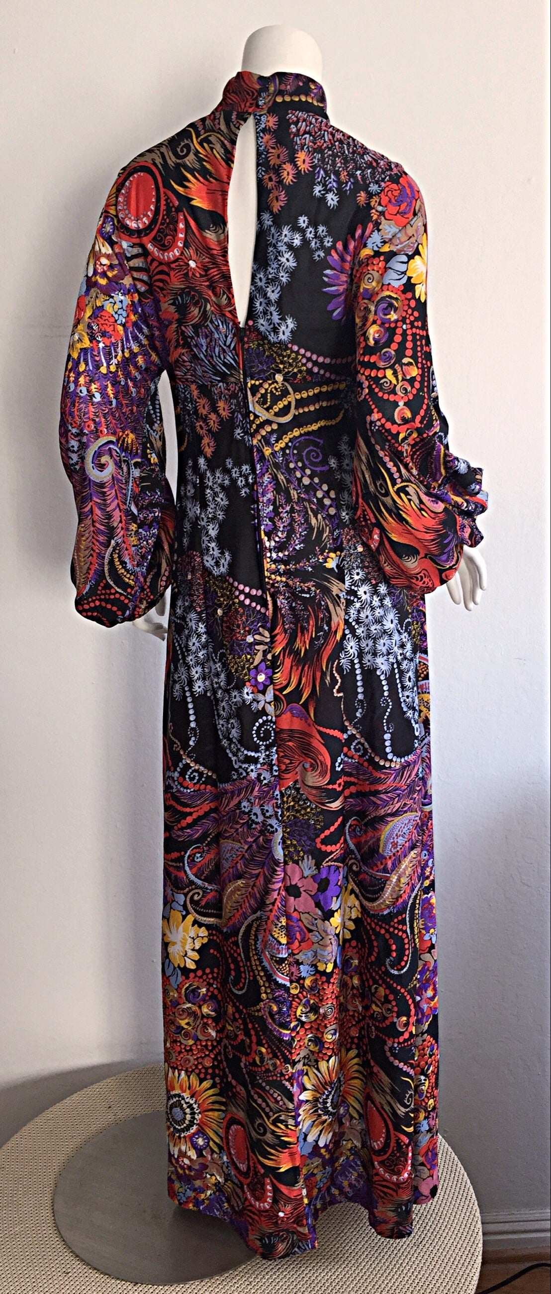 Incredible 1970s Daymor Couture Colorful Psychedelic Open - Back Asian Dress 2