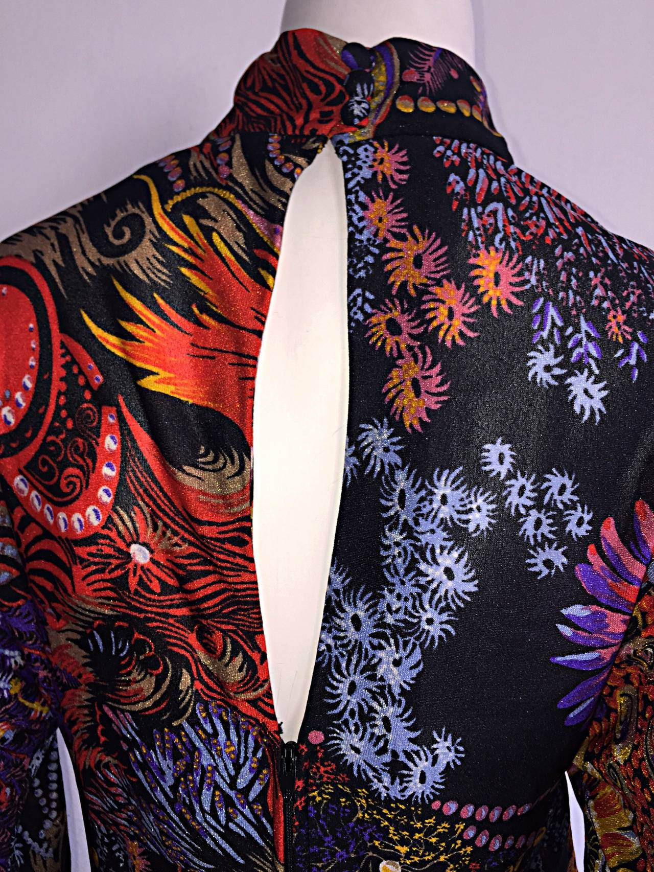 Incredible 1970s Daymor Couture Colorful Psychedelic Open - Back Asian Dress 4