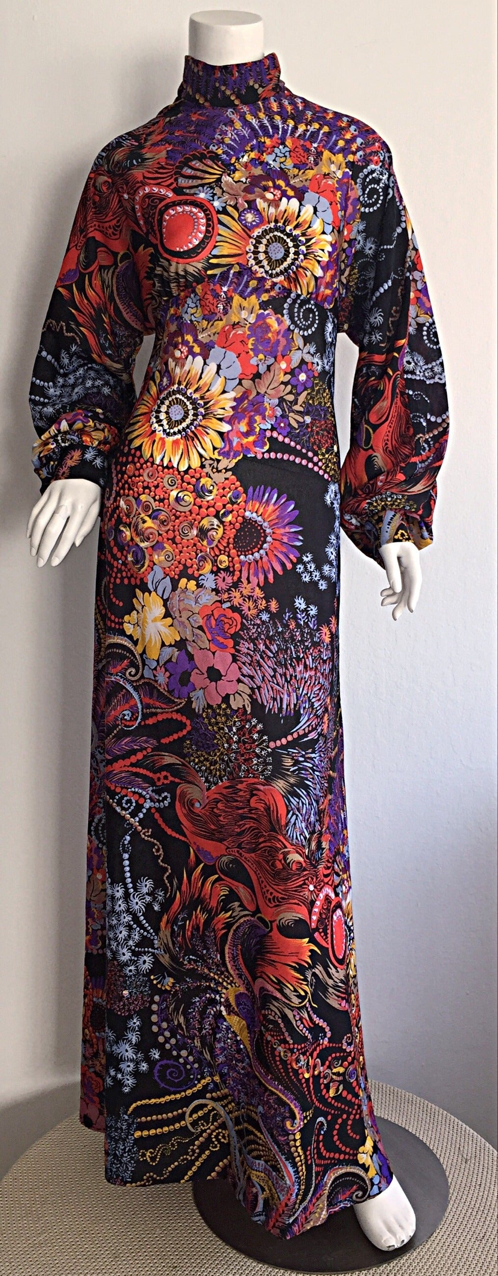 Incredible 1970s Daymor Couture Colorful Psychedelic Open - Back Asian Dress 6