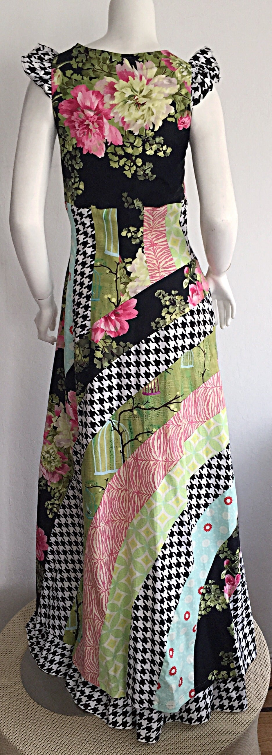Black Amazing 1970s Vintage Bohemian Patchwork Cotton Maxi Dress For Sale