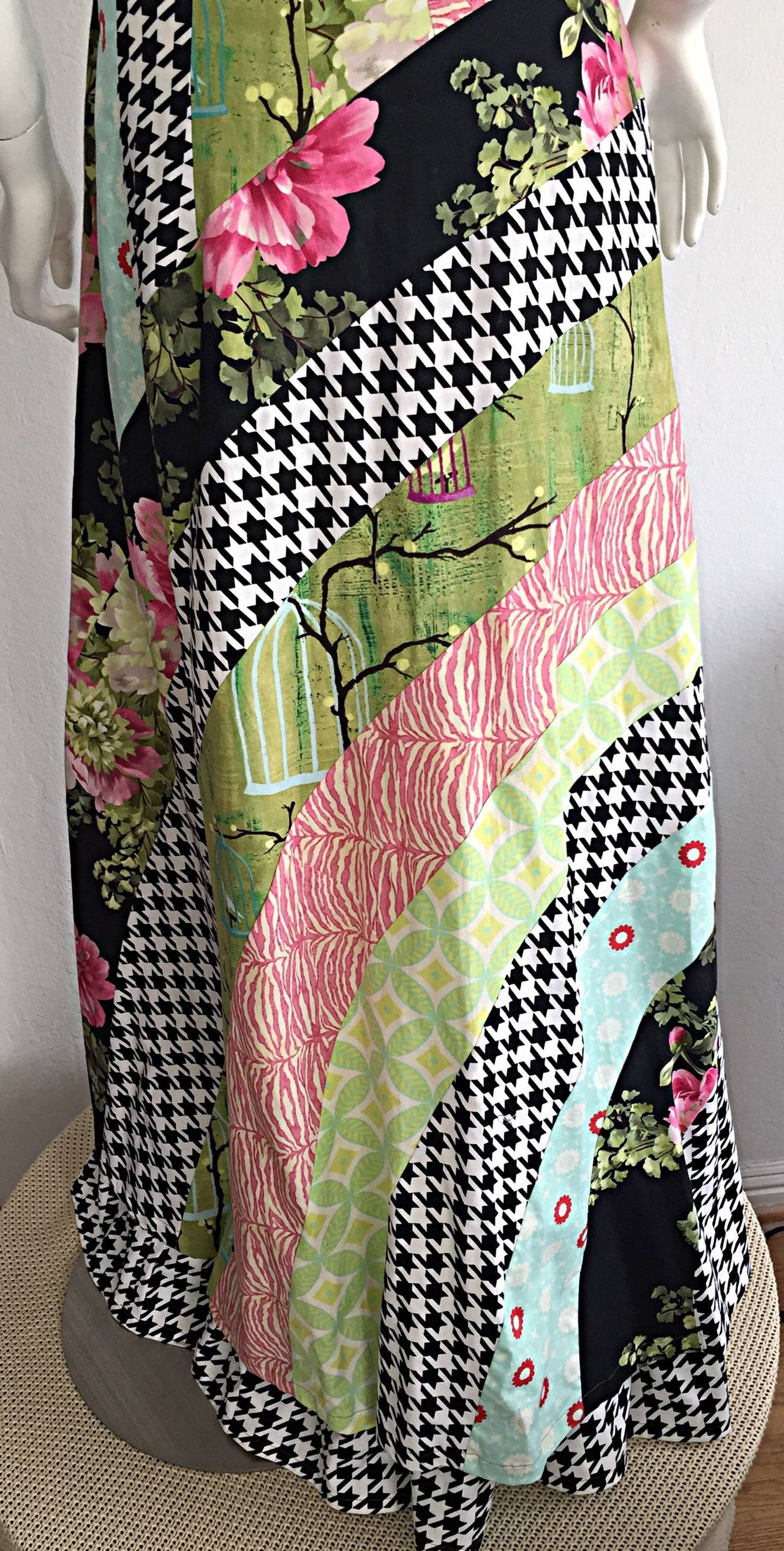 Amazing 1970s Vintage Bohemian Patchwork Cotton Maxi Dress In Excellent Condition For Sale In San Francisco, CA