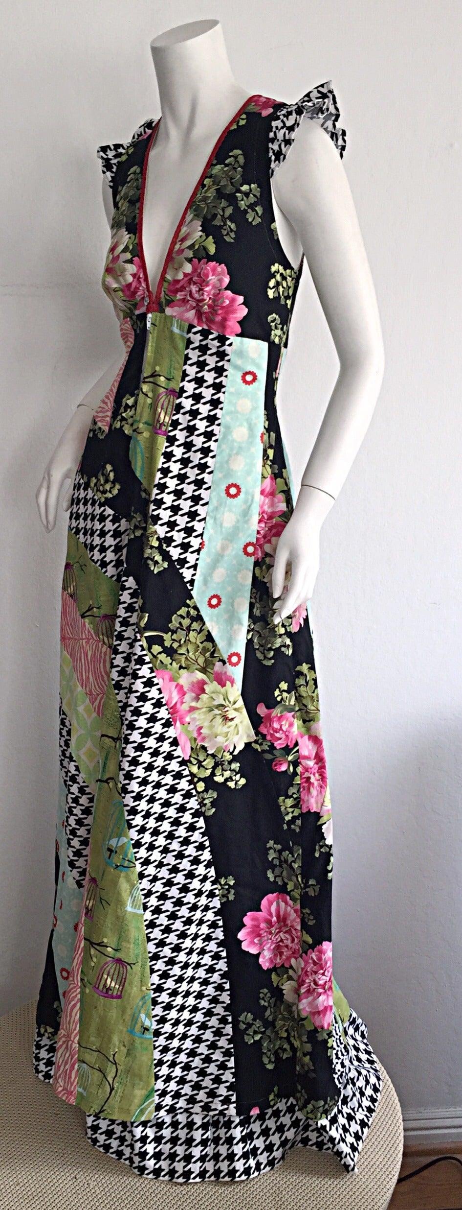 Amazing 1970s Vintage Bohemian Patchwork Cotton Maxi Dress For Sale 1